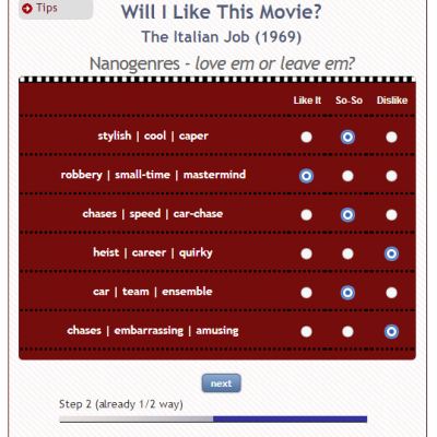 "Nanocrowd ""Will I Like This Movie?"" Game"